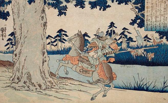 Moriya poursuivant le Prince Shōtoku qui disparait dans un arbre.